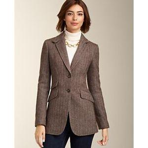 NWT Talbots Herringbone Tweed Jacket Brown